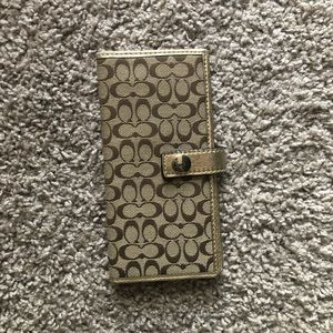 Gently Used Gold Monogram Coach Wallet